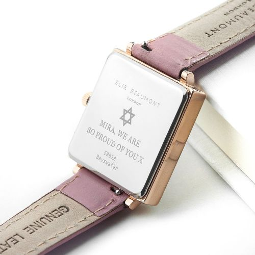 Personalised Bat Mitzvah Pink Blush Leather Watch